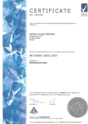 Certyfikat OHSAS- wersja angielska