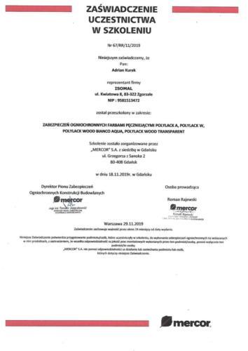 02. Mercor Certyfikat Szkolenia ISOMAL Farby
