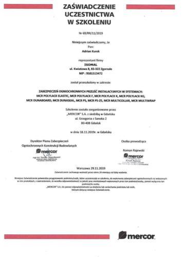 04. Mercor Certyfikat Szkolenia ISOMAL Przejścia