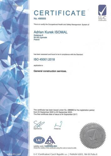 Certyfikat ISO 45001:2018 - wersja angielska