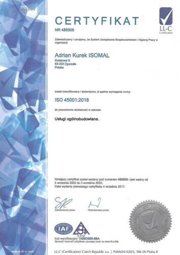 Certyfikat ISO 45001:2018 - wersja polska